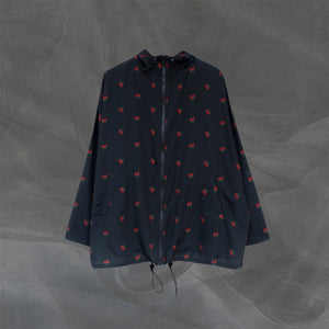 Loose Printed Parka Black Cherry