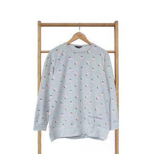 Myka Oversize Sweater Fruit & Floret -cherry- Grey Pink Cherry