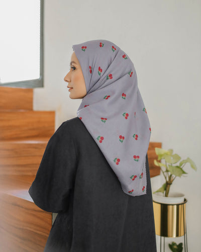 Maima Scarf Fruit & Floret Vol. 2 Grey Red Cherry