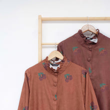 Load image into Gallery viewer, Flotte Long Outer / Tunic Printed Fruit & Floret - large cherry- Brown Sugar Cherry