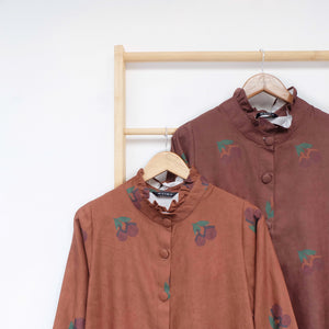Flotte Long Outer / Tunic Printed Fruit & Floret - large cherry- Brown Sugar Cherry
