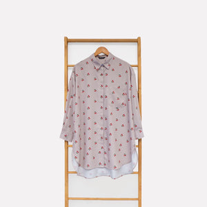 Nome Top Printed (oversize top) Fruit & Floret -cherry- Dusty Cherry