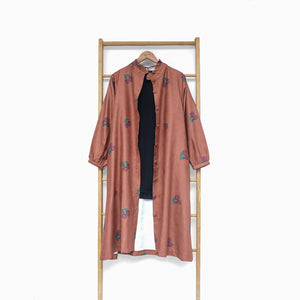 Flotte Long Outer / Tunic Printed Fruit & Floret - large cherry- Terracotta Cherry