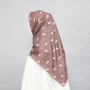 Maima Scarf Freshness Series Fruit & Floret -Pastel Cherry- Light Brown