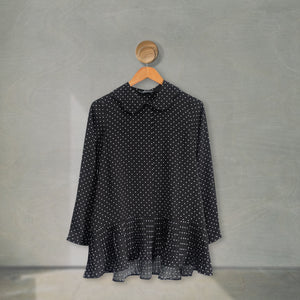 Hena Top Small Polka (Pleats) Black