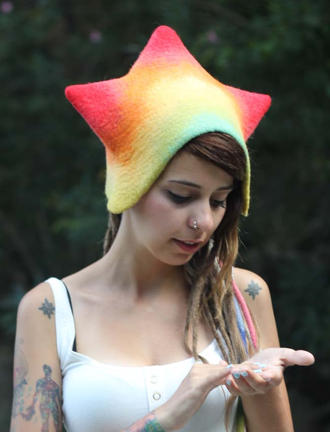 Felted Hat Rainbow Star