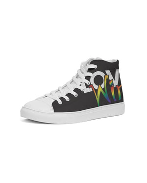 Load image into Gallery viewer, love wins men's hightop canvas shoe - above the curve;