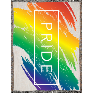 rainbow love woven blankets - above the curve;
