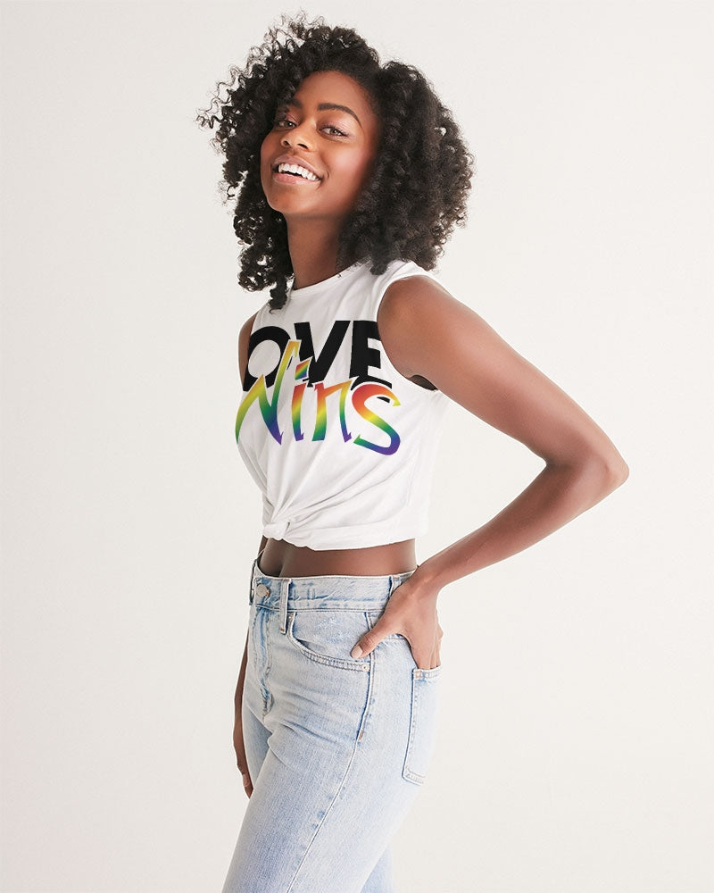 love wins women's twist-front tank - above the curve;