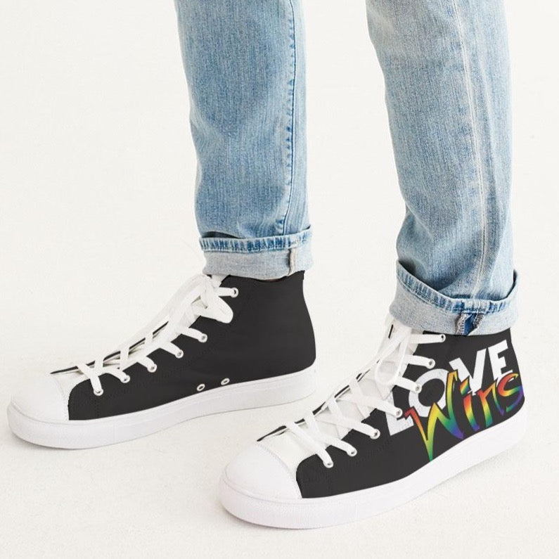 love wins men's hightop canvas shoe