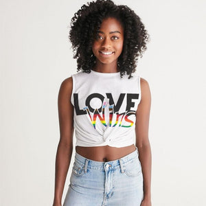 love wins blm women's twist-front tank - above the curve;