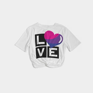 bisexual love women's twist-front cropped tee - above the curve;