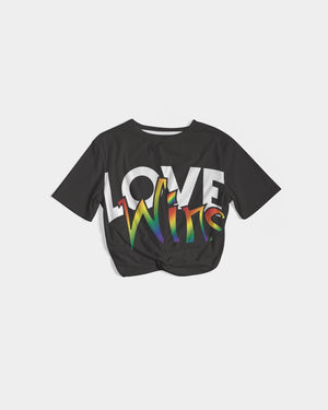 love wins women's twist-front cropped tee - above the curve;
