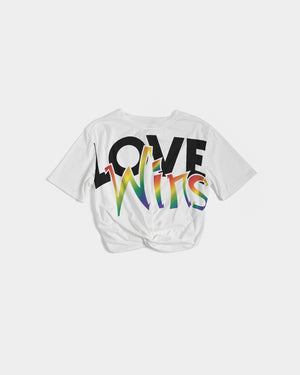 love wins women's twisted cropped tee - above the curve;