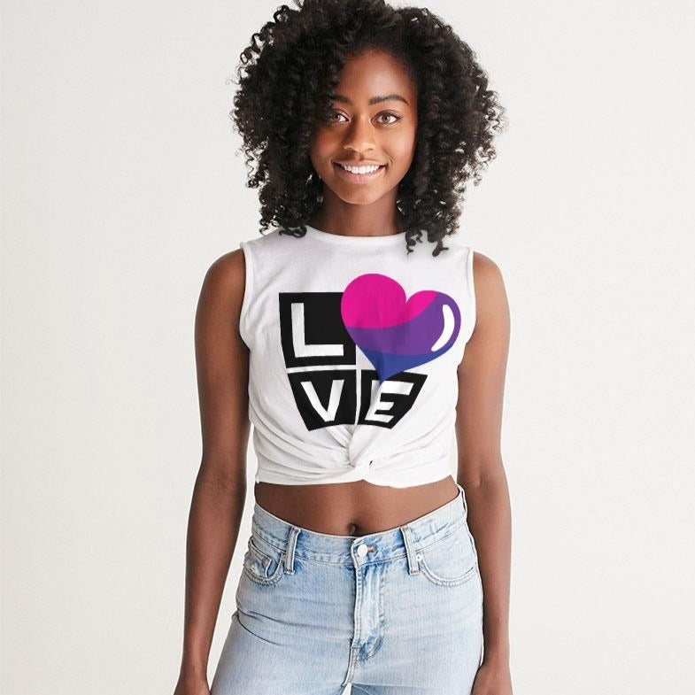 bisexual love women's twist-front tank - above the curve;