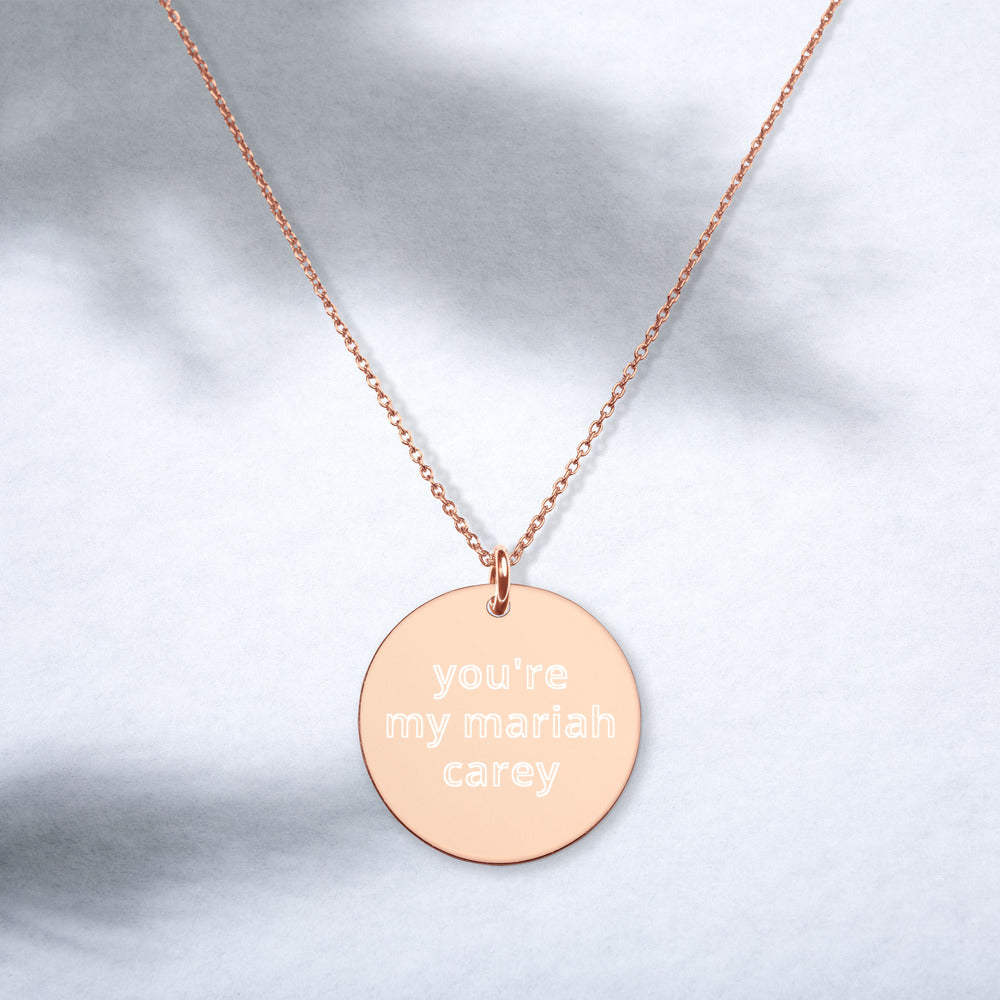 mariah carey engraved silver disc necklace - above the curve;