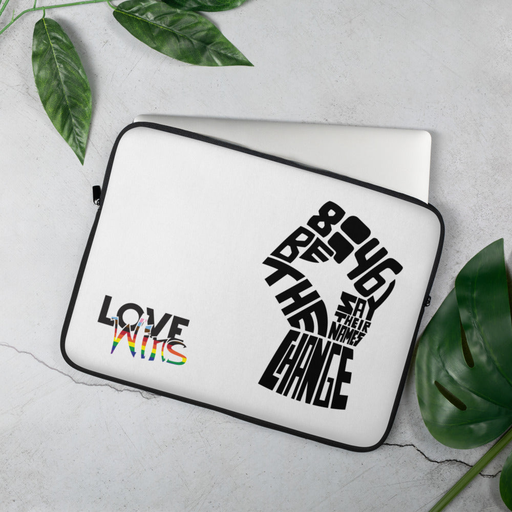 love wins BLM laptop sleeve - above the curve;