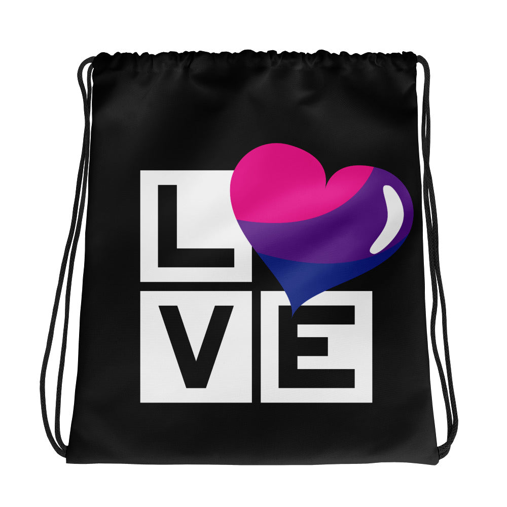 bisexual love drawstring bag - above the curve;