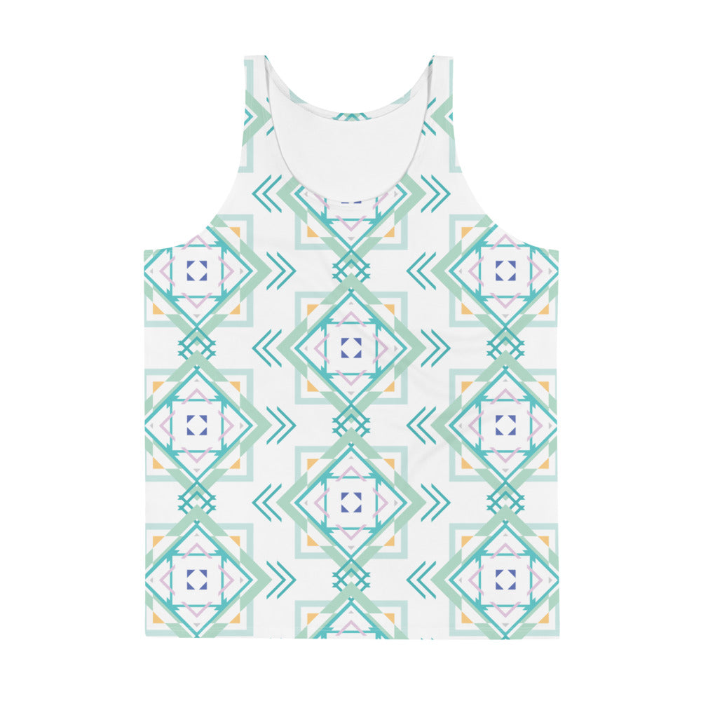 aztec hipster unisex tank top - above the curve;