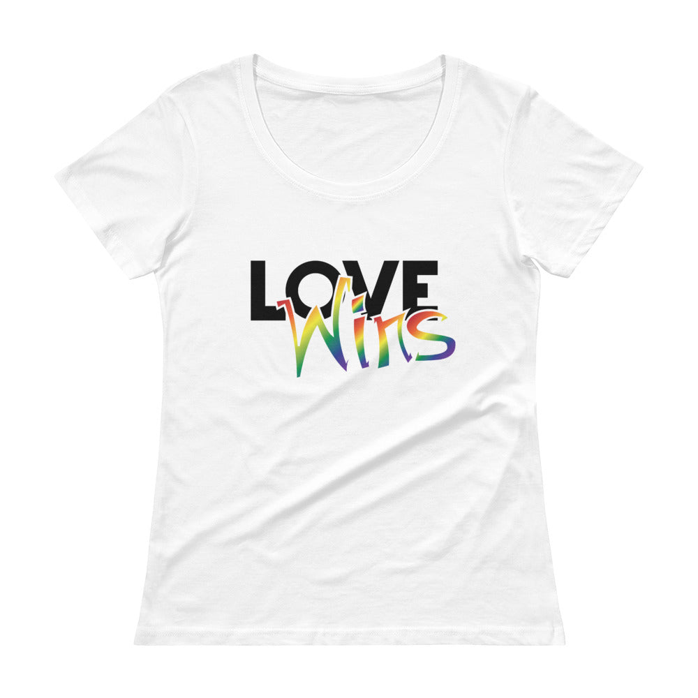 love wins ladies' scoopneck t-shirt - above the curve;