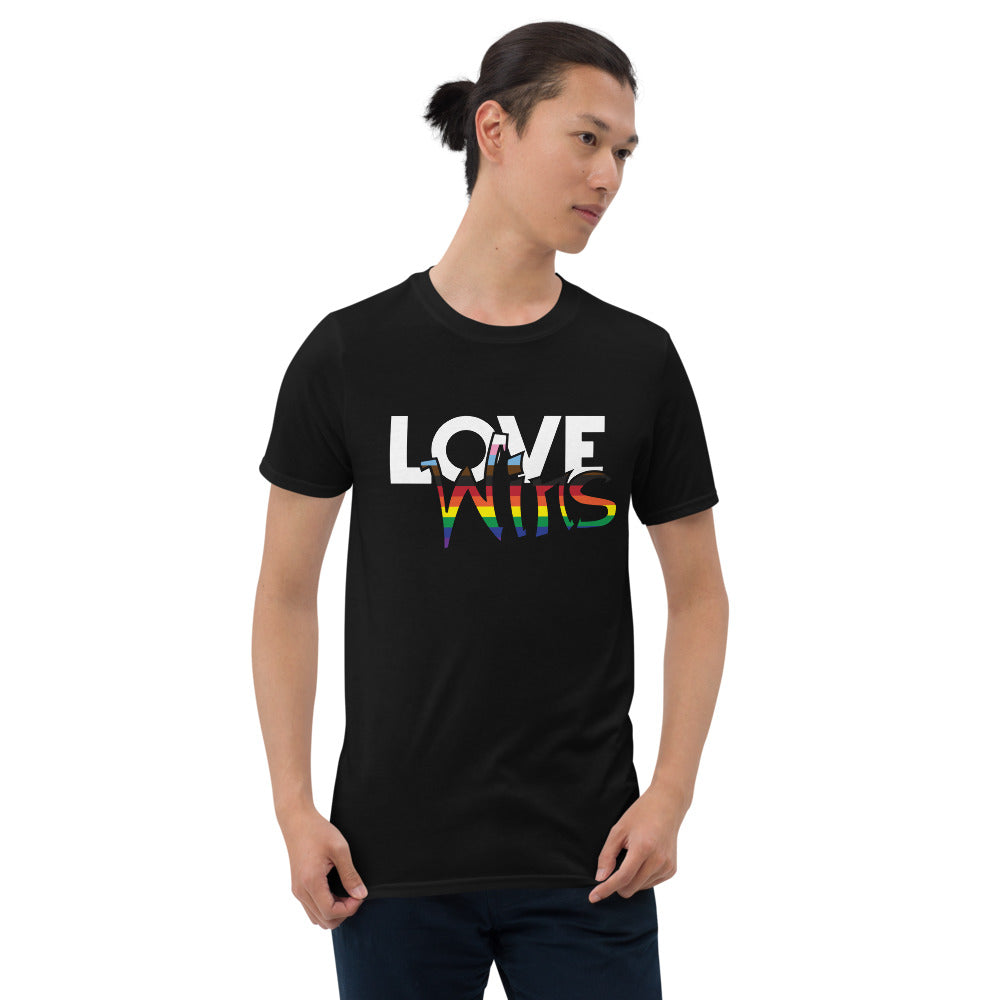 love wins BLM short-sleeve unisex t-shirt - above the curve;