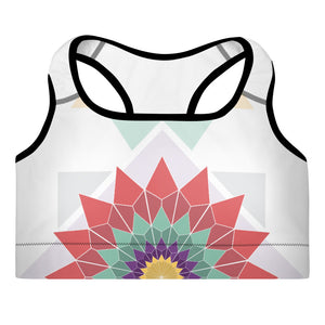 abstract hipster padded sports bra - above the curve;
