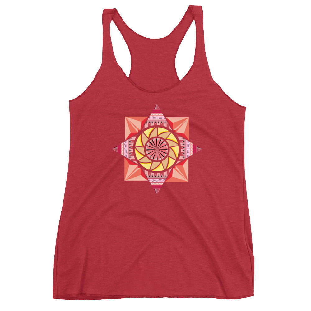 Load image into Gallery viewer, aztec kaleidoscope women's racerback tank - above the curve;