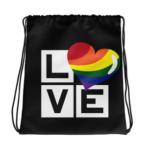 rainbow love drawstring bag - above the curve;