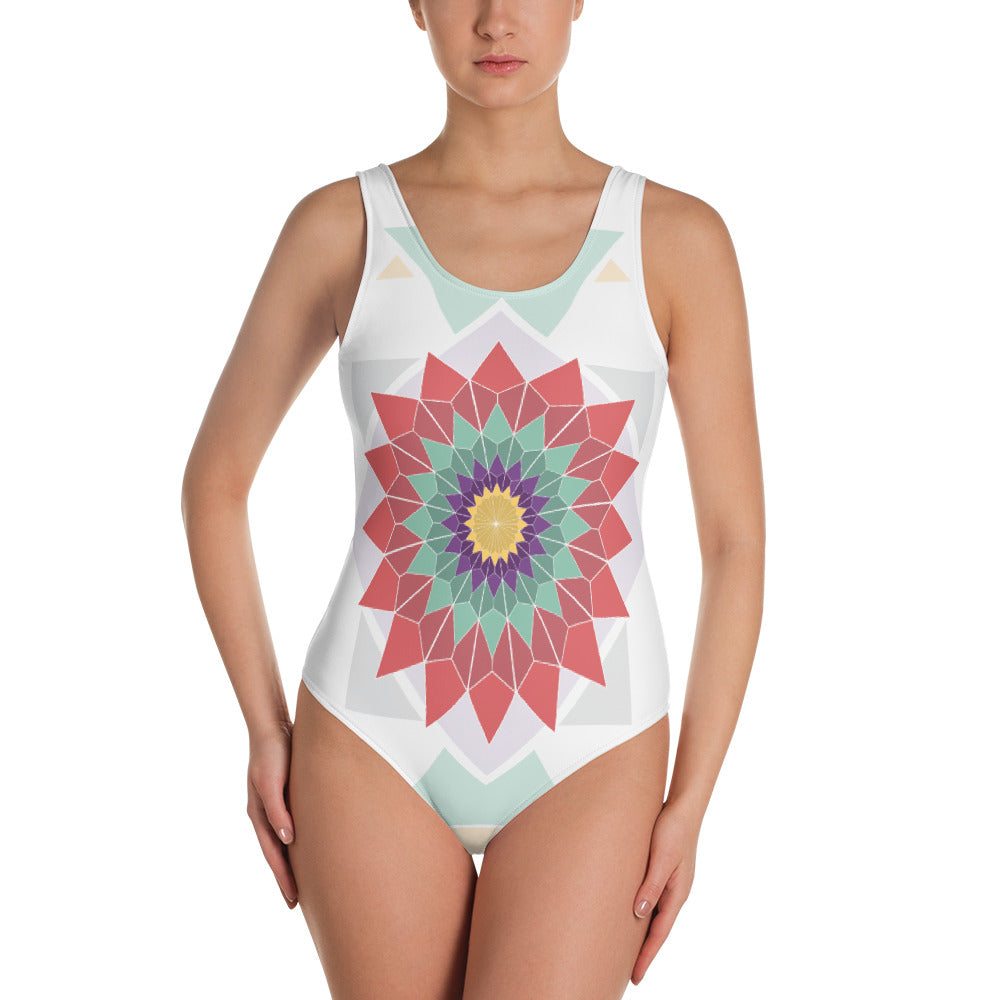 abstract hipster one-piece swimsuit - above the curve;