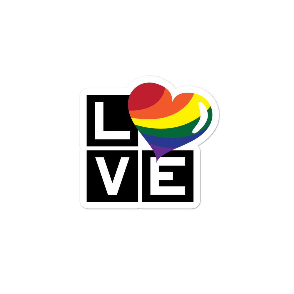 Load image into Gallery viewer, rainbow love bubble-free stickers - above the curve;