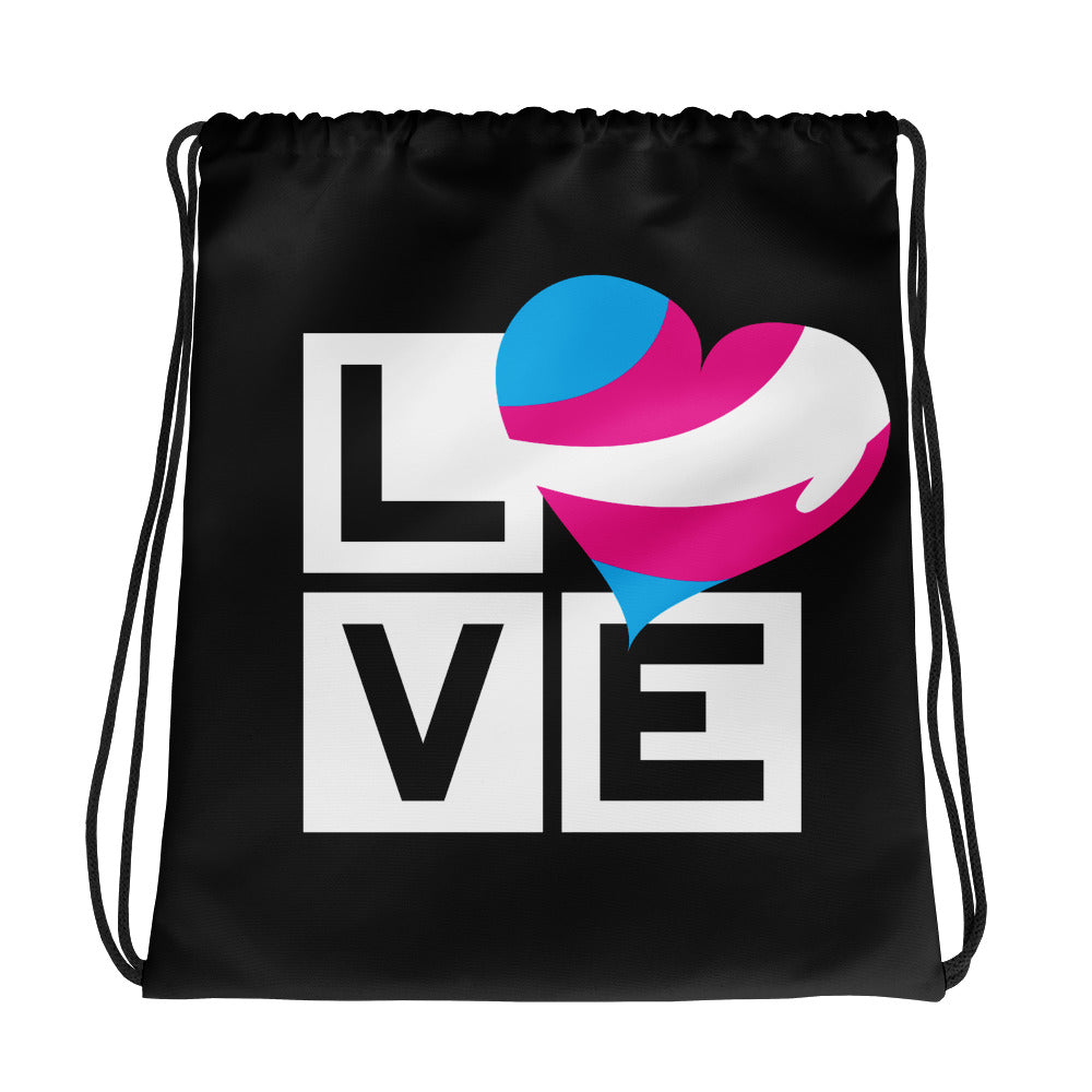 Load image into Gallery viewer, trans love drawstring bag - above the curve;