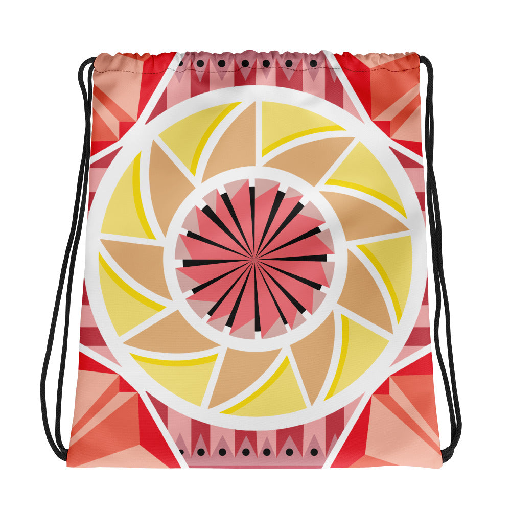 aztec kaleidoscope drawstring bag - above the curve;