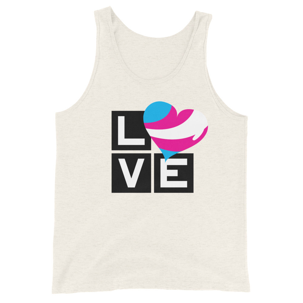 trans love unisex tank top - above the curve;