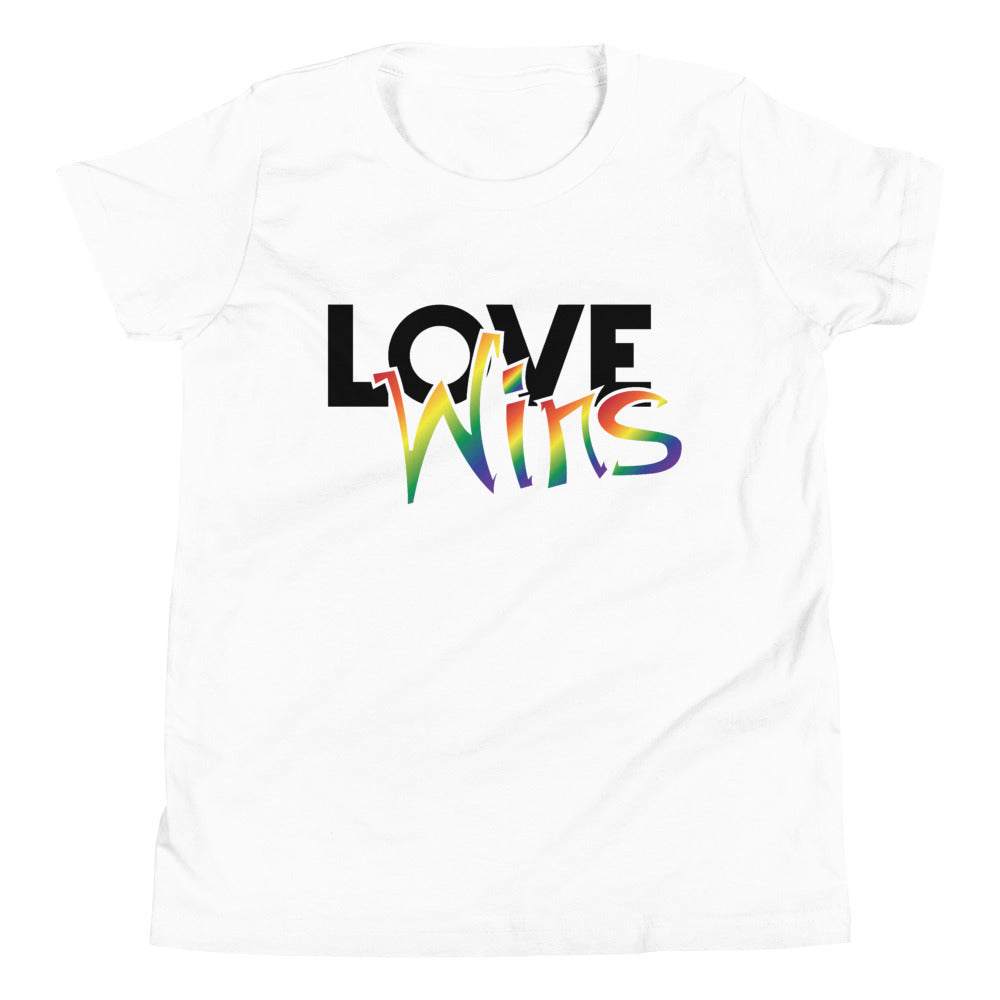 love wins youth short sleeve t-shirt - above the curve;