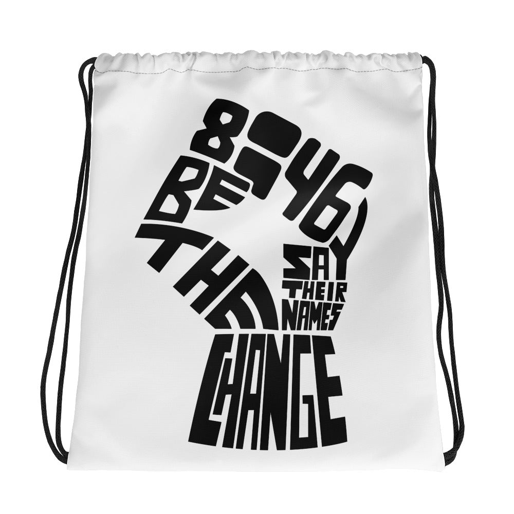 blm drawstring bag - above the curve;