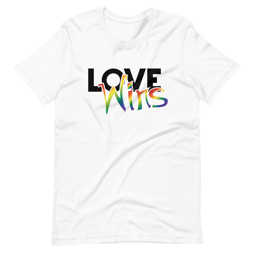 love wins short-sleeve unisex t-shirt - above the curve;