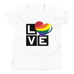 rainbow love youth short sleeve t-shirt - above the curve;