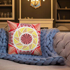 Load image into Gallery viewer, aztec kaleidoscope premium pillow - above the curve;