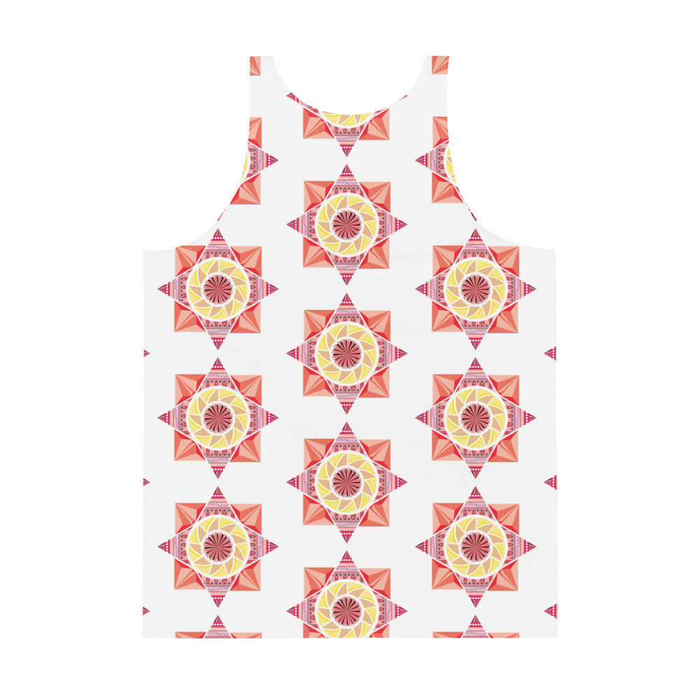 aztec kaleidoscope unisex tank top - above the curve;