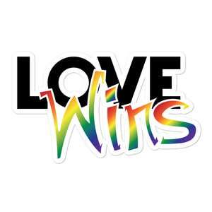 love wins bubble-free stickers - above the curve;