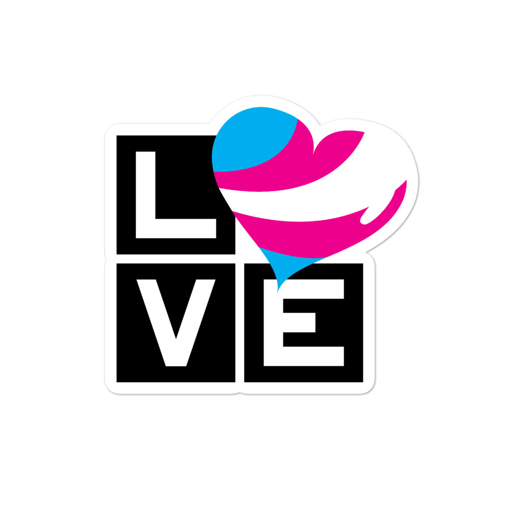 trans love bubble-free stickers - above the curve;