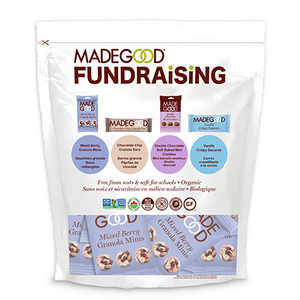 madegood fundraiser bag full of individual packages of mixed berry granola minis