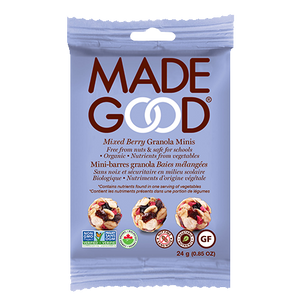 individual package of mixed berry granola minis in wrapper