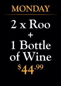 2 x Roo + 1 x Bottle of Wine
