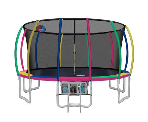 16FT Kids Round Enclosed Trampoline With Basketball Hoop