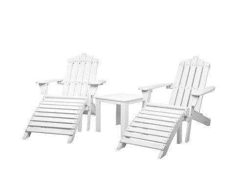 6 Piece Wooden Adirondack Sun Lounge Beach Chairs with Table - White