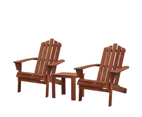 2 x Outdoor Wooden Adirondack Sun Lounge Chairs Setting - White, Brown or Natural