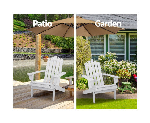 Outdoor Wooden Adirondack Sun Lounge Chair With Side Table - White, Brown or Natural