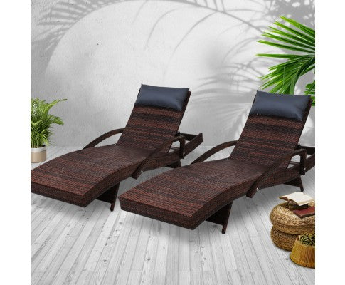 2x Sun Lounge Patio Day Bed Setting - Brown, Black or Grey