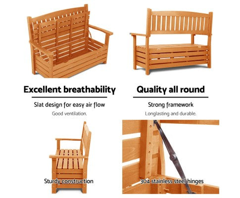 2 Seat Wooden Patio Outdoor Storage Bench